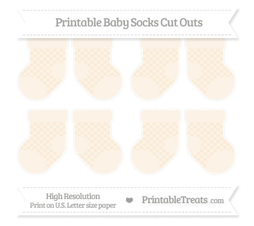 Free Antique White Checker Pattern Small Baby Socks Cut Outs