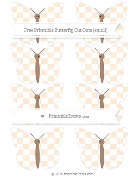 Free Antique White Checker Pattern Small Butterfly Cut Outs