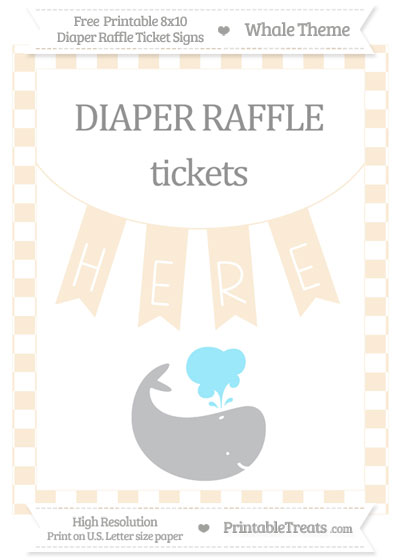 Free Antique White Checker Pattern Whale 8x10 Diaper Raffle Ticket Sign