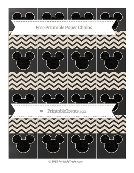 Free Antique White Chevron Chalk Style Mickey Mouse Paper Chains