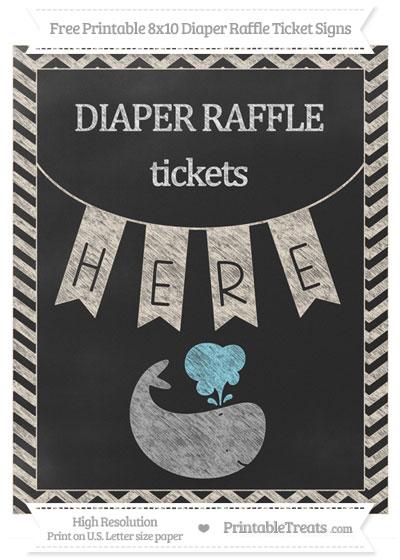 Free Antique White Chevron Chalk Style Whale 8x10 Diaper Raffle Ticket Sign