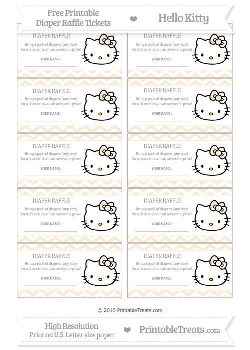 Free Antique White Chevron Hello Kitty Diaper Raffle Tickets