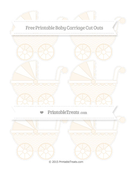 Free Antique White Chevron Small Baby Carriage Cut Outs