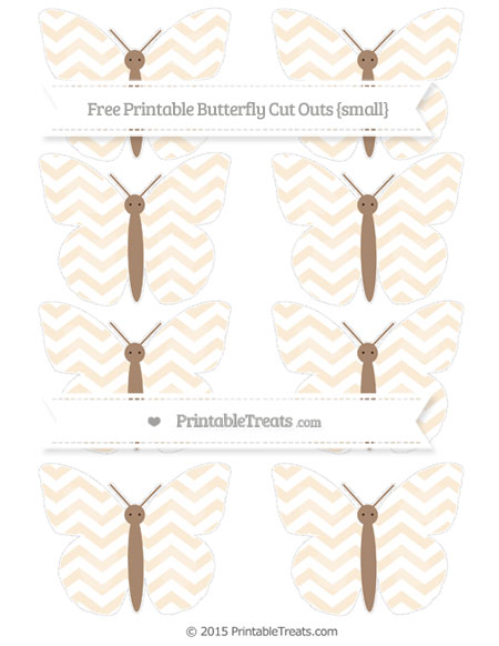 Free Antique White Chevron Small Butterfly Cut Outs