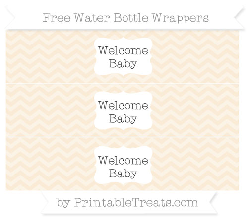 Free Antique White Chevron Welcome Baby Water Bottle Wrappers
