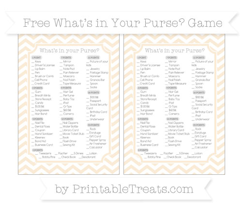 Free Antique White Chevron What's in Your Purse Baby Shower Game