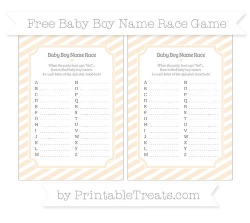 Free Antique White Diagonal Striped Baby Boy Name Race Game