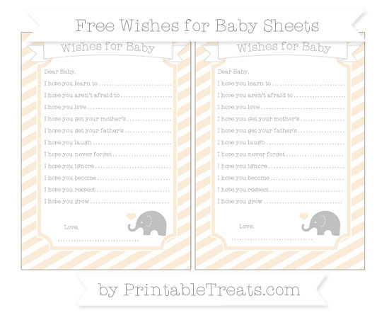 Free Antique White Diagonal Striped Baby Elephant Wishes for Baby Sheets
