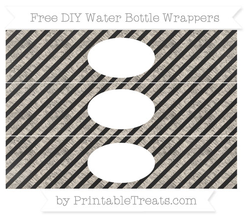 Free Antique White Diagonal Striped Chalk Style DIY Water Bottle Wrappers