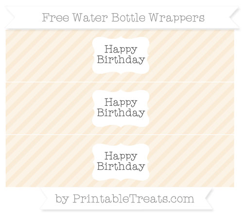 Free Antique White Diagonal Striped Happy Birhtday Water Bottle Wrappers