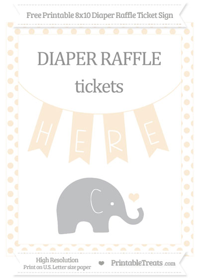 Free Antique White Dotted Baby Elephant 8x10 Diaper Raffle Ticket Sign