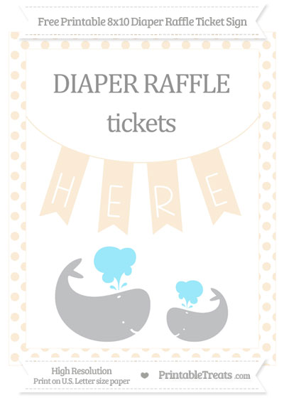Free Antique White Dotted Baby Whale 8x10 Diaper Raffle Ticket Sign