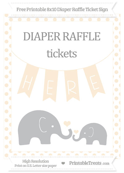 Free Antique White Dotted Elephant 8x10 Diaper Raffle Ticket Sign