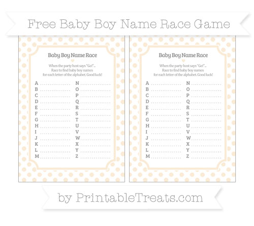 Free Antique White Dotted Pattern Baby Boy Name Race Game