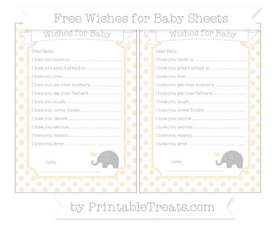 Free Antique White Dotted Pattern Baby Elephant Wishes for Baby Sheets