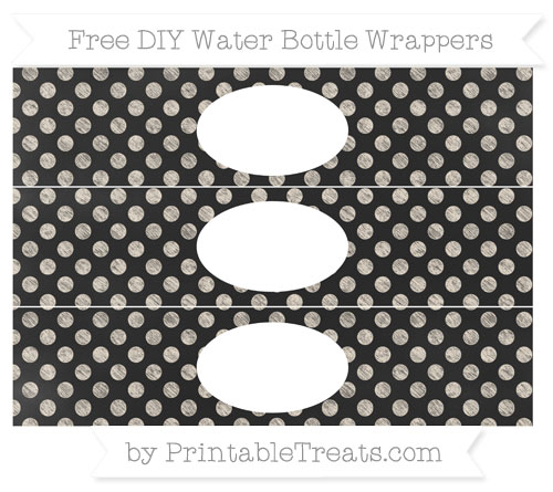 Free Antique White Dotted Pattern Chalk Style DIY Water Bottle Wrappers