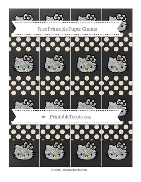 Free Antique White Dotted Pattern Chalk Style Hello Kitty Paper Chains