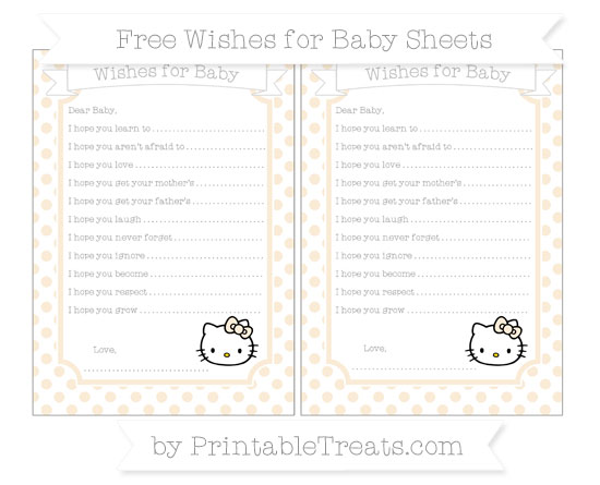 Free Antique White Dotted Pattern Hello Kitty Wishes for Baby Sheets