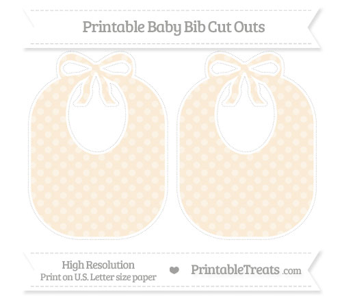 Free Antique White Dotted Pattern Large Baby Bib Cut Outs