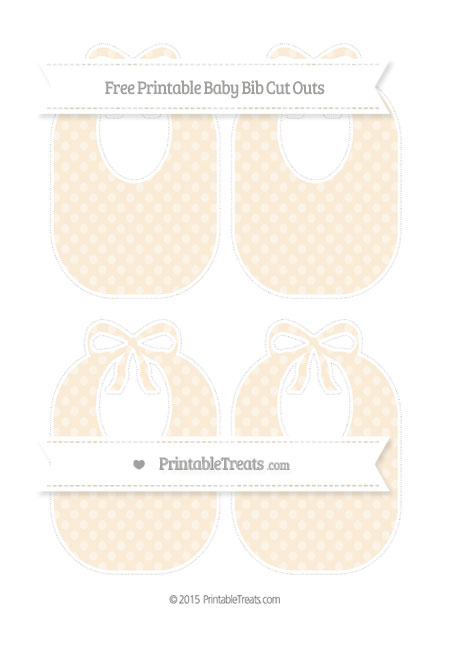 Free Antique White Dotted Pattern Medium Baby Bib Cut Outs