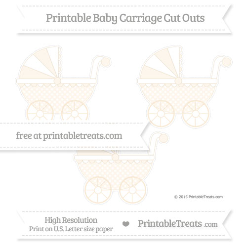 Free Antique White Dotted Pattern Medium Baby Carriage Cut Outs
