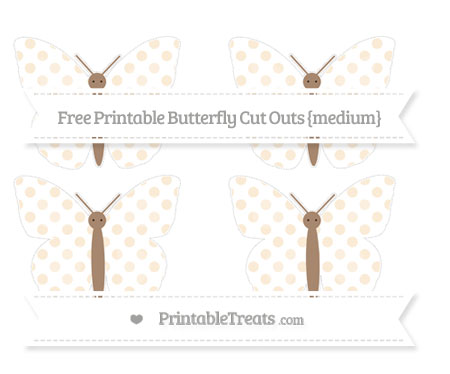 Free Antique White Dotted Pattern Medium Butterfly Cut Outs
