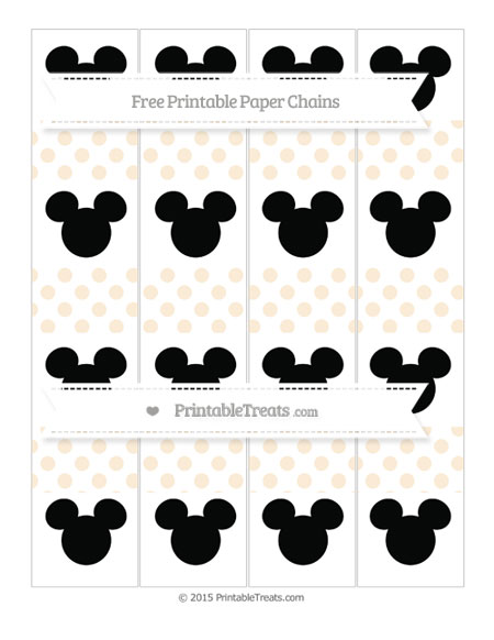 Free Antique White Dotted Pattern Mickey Mouse Paper Chains