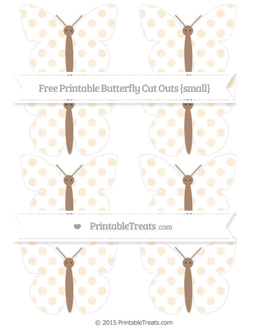 Free Antique White Dotted Pattern Small Butterfly Cut Outs