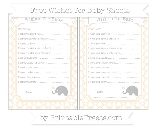 Free Antique White Fish Scale Pattern Baby Elephant Wishes for Baby Sheets