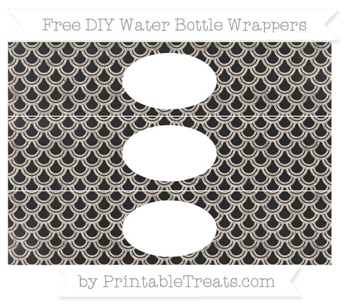 Free Antique White Fish Scale Pattern Chalk Style DIY Water Bottle Wrappers