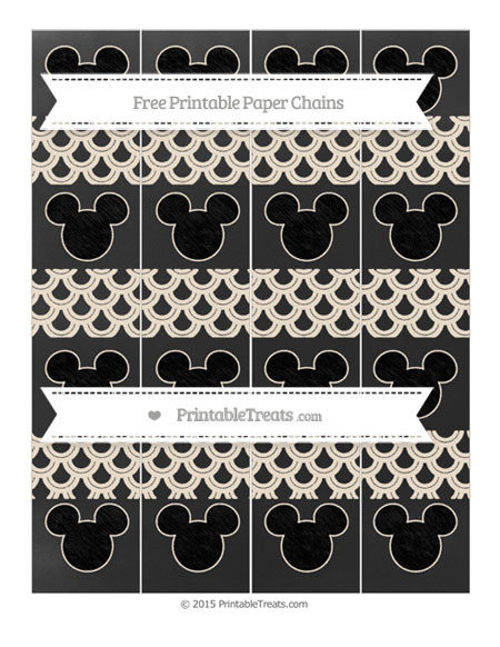 Free Antique White Fish Scale Pattern Chalk Style Mickey Mouse Paper Chains