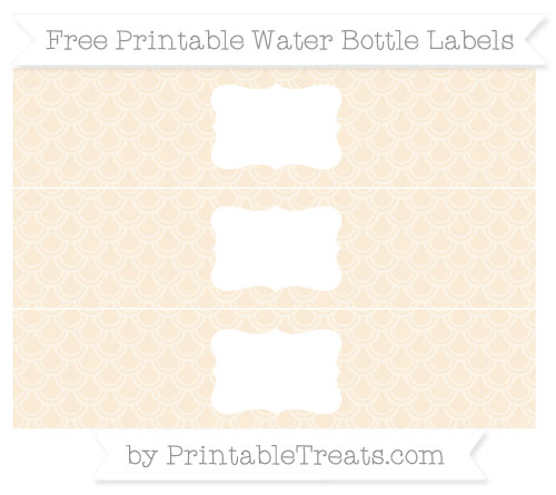 Free Antique White Fish Scale Pattern Water Bottle Labels