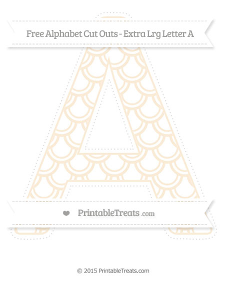 Free Antique White Fish Scale Pattern Extra Large Capital Letter A Cut Outs