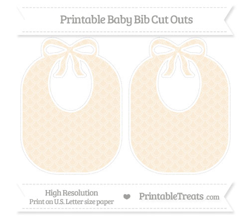 Free Antique White Fish Scale Pattern Large Baby Bib Cut Outs