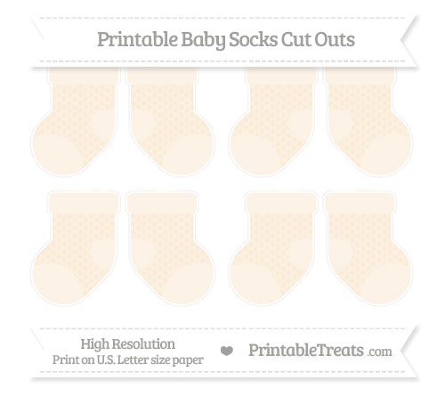 Free Antique White Fish Scale Pattern Small Baby Socks Cut Outs