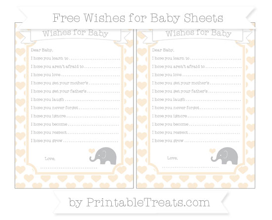 Free Antique White Heart Pattern Baby Elephant Wishes for Baby Sheets