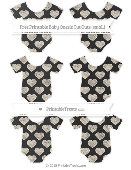 Free Antique White Heart Pattern Chalk Style Small Baby Onesie Cut Outs