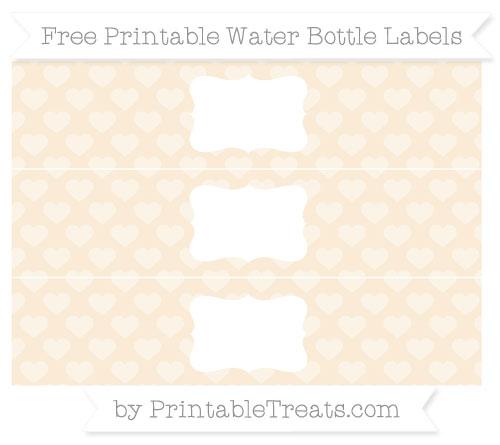 Free Antique White Heart Pattern Water Bottle Labels