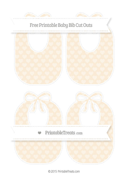 Free Antique White Heart Pattern Medium Baby Bib Cut Outs