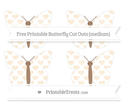 Free Antique White Heart Pattern Medium Butterfly Cut Outs