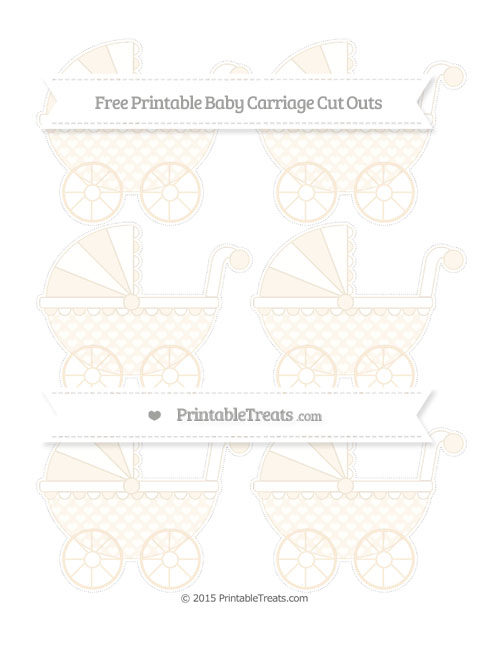 Free Antique White Heart Pattern Small Baby Carriage Cut Outs