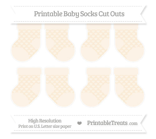 Free Antique White Heart Pattern Small Baby Socks Cut Outs