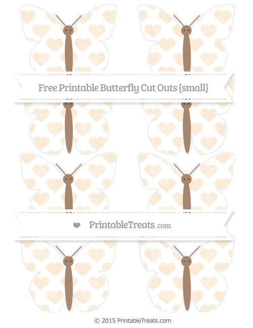 Free Antique White Heart Pattern Small Butterfly Cut Outs