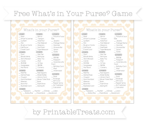 Free Antique White Heart Pattern What's in Your Purse Baby Shower Game