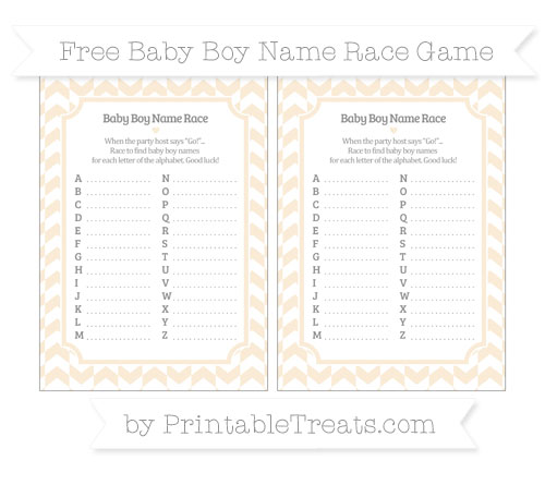 Free Antique White Herringbone Pattern Baby Boy Name Race Game