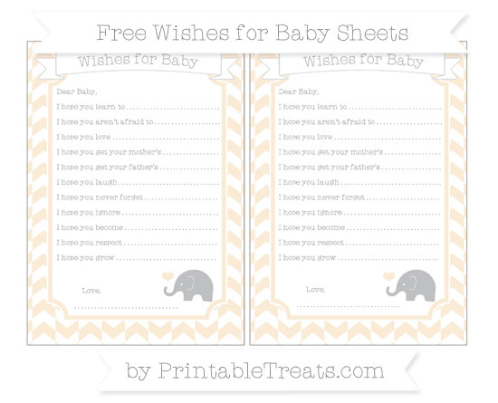 Free Antique White Herringbone Pattern Baby Elephant Wishes for Baby Sheets