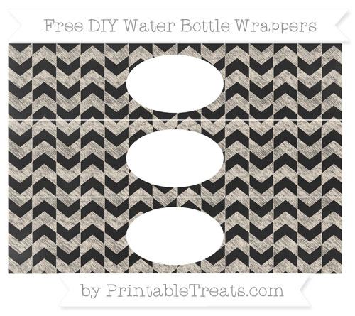 Free Antique White Herringbone Pattern Chalk Style DIY Water Bottle Wrappers