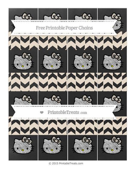 Free Antique White Herringbone Pattern Chalk Style Hello Kitty Paper Chains