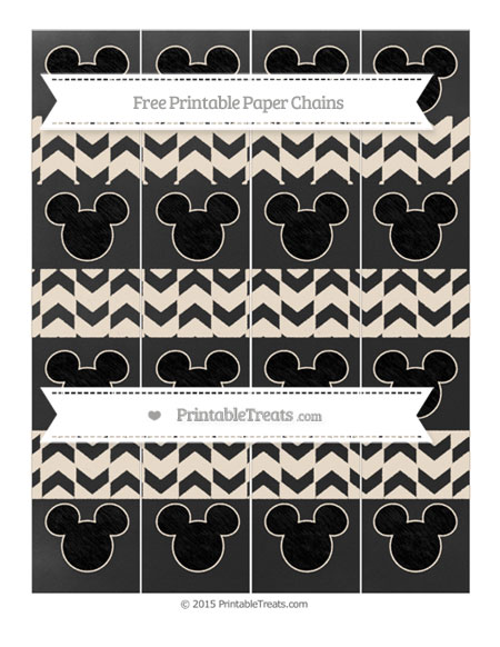 Free Antique White Herringbone Pattern Chalk Style Mickey Mouse Paper Chains