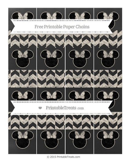 Free Antique White Herringbone Pattern Chalk Style Minnie Mouse Paper Chains